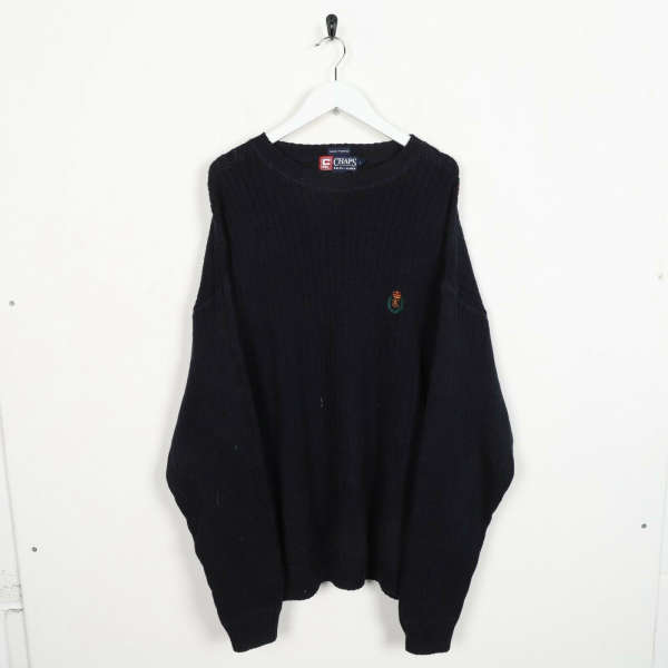 Vintage CHAPS RALPH LAUREN Small Logo Knitted Sweatshirt Jumper Navy | Large L