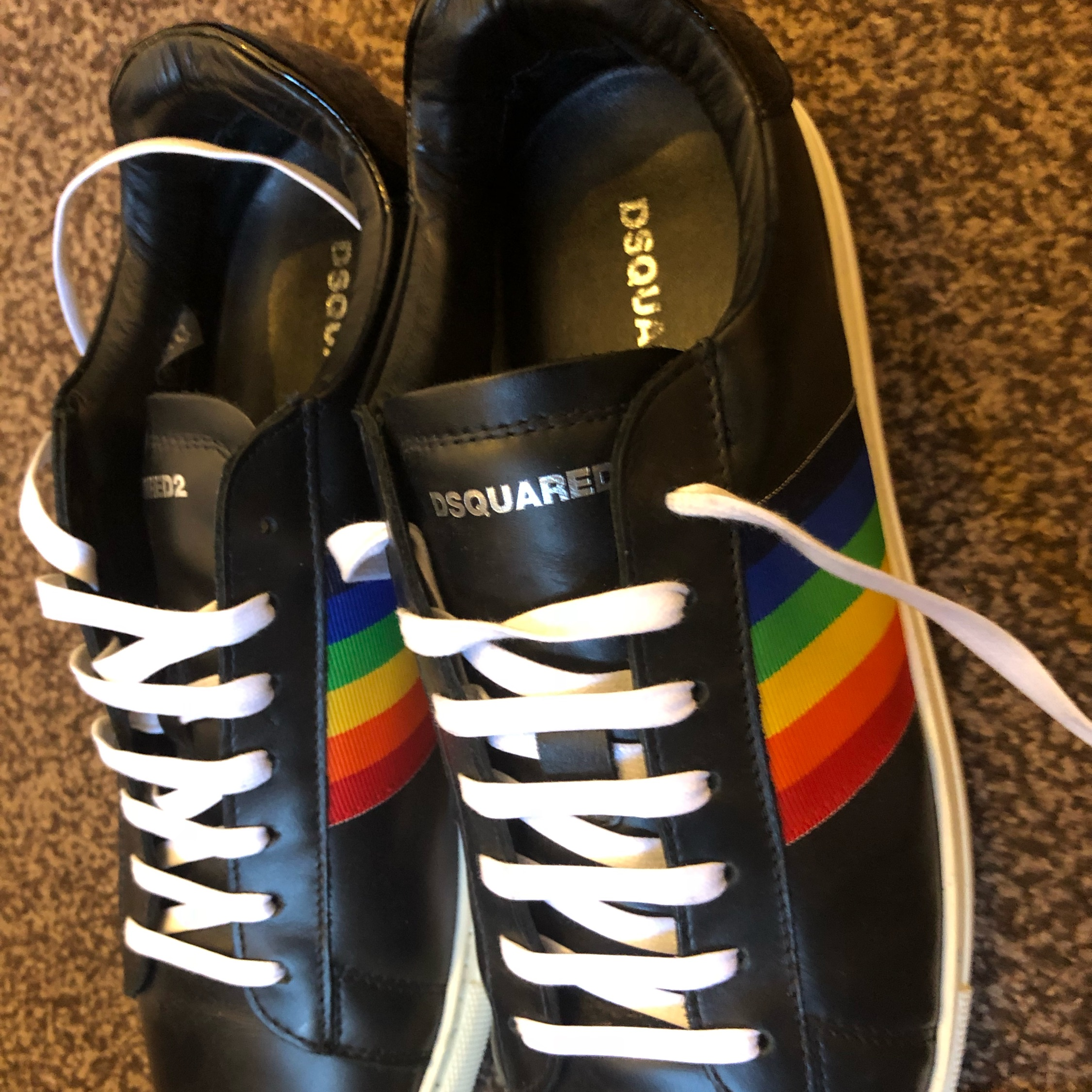 Dsquared2 Rainbow Stripe Low-Top Sneakers