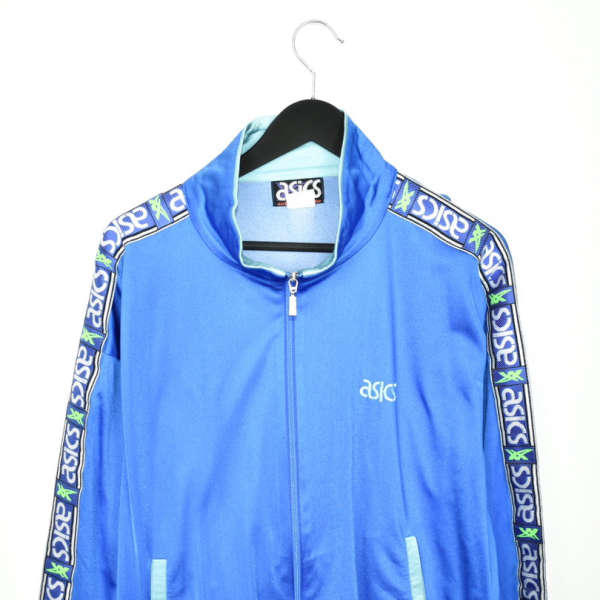 Vintage asics tracksuit trackie jacket zip up sweater in blue