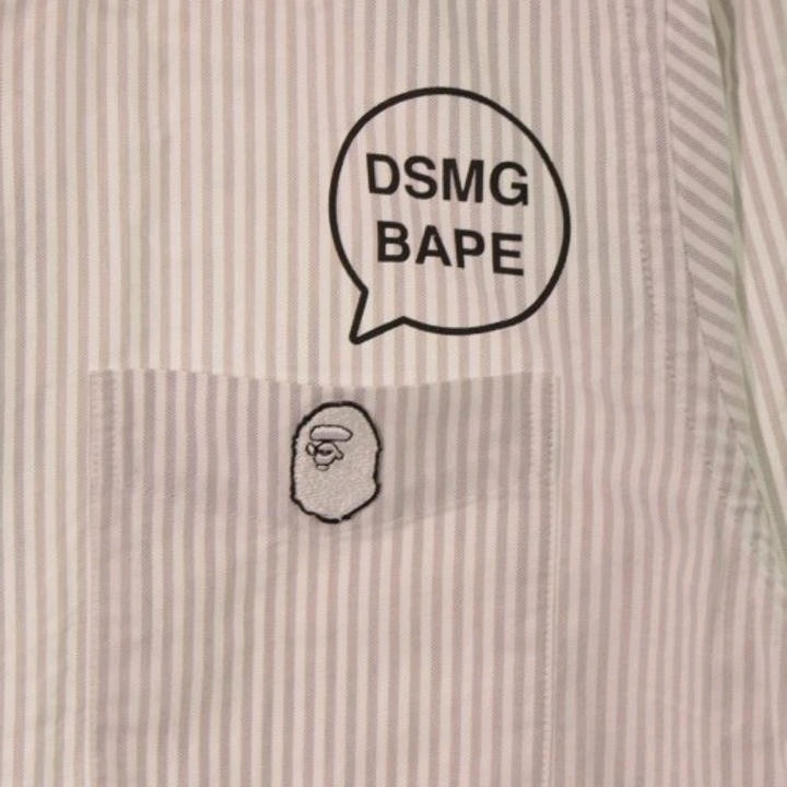Bape Shirts Gray Long Sleeves Stripes Logo Embroidered