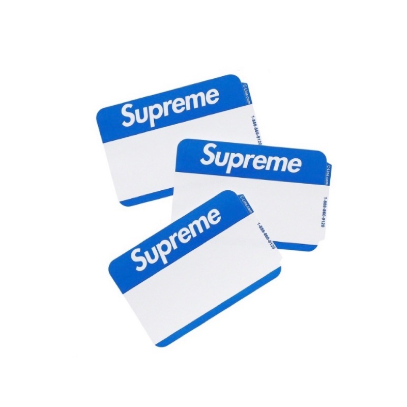 Supreme Name Badge Stickers Blue