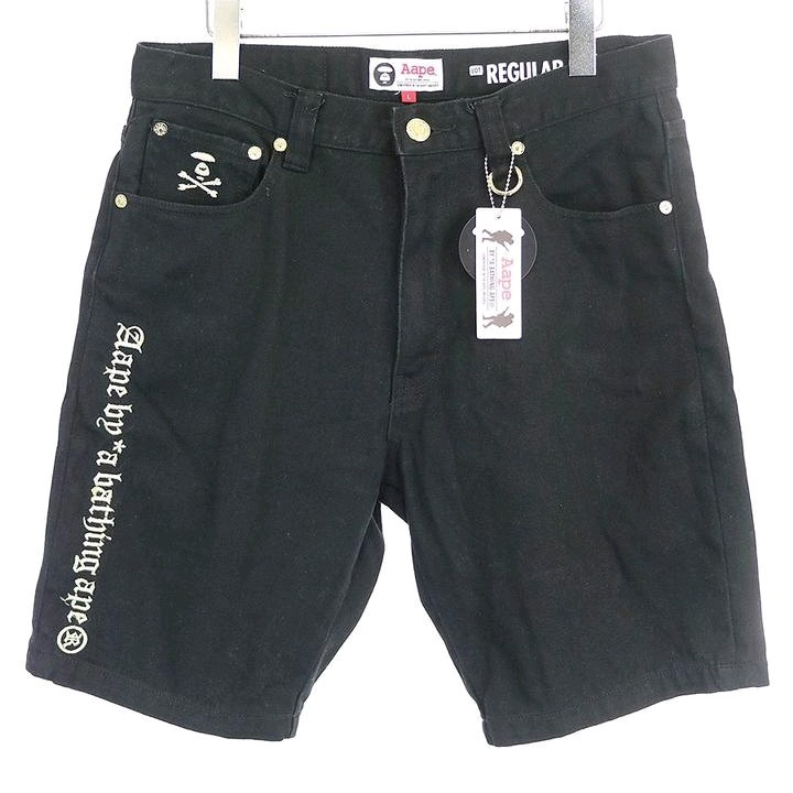 Bape Shorts Black 5 Pocket Shorts Embroidered Logo Letters
