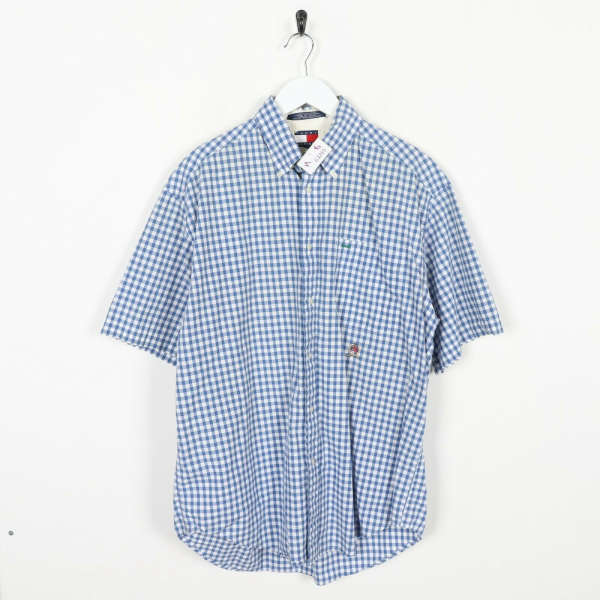 Vintage TOMMY HILFIGER Crest Logo Short Sleeve Check Shirt Medium Grade B