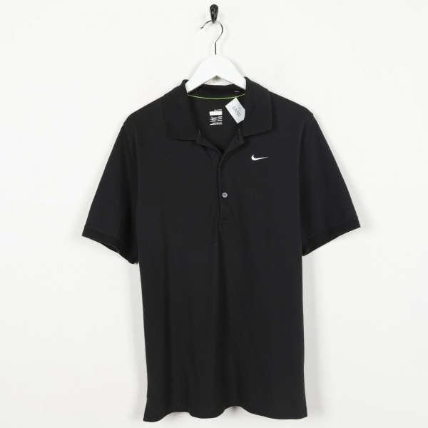 Vintage NIKE Small Logo Polo Shirt Top Black | Small S
