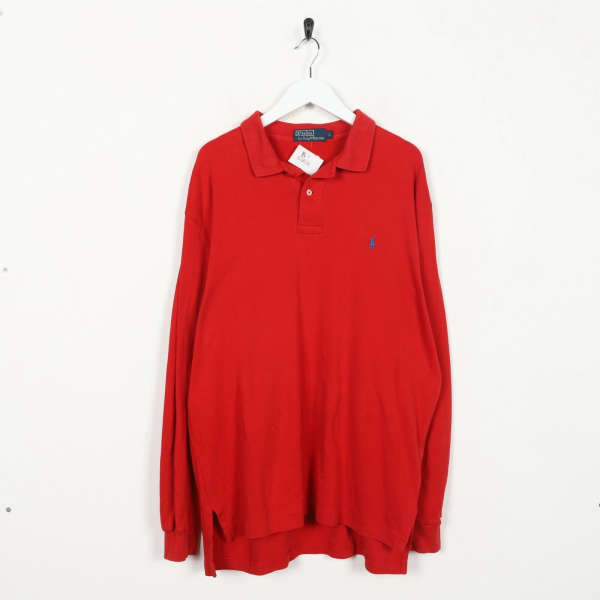 Vintage RALPH LAUREN Small Logo Long Sleeve Polo Shirt Top Red | Large | Grade B