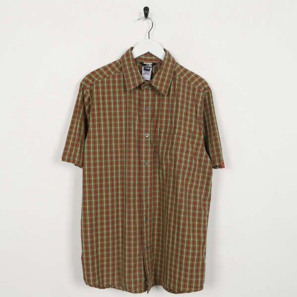 Vintage THE NORTH FACE Short Sleeve Check Shirt Red Brown | Medium M