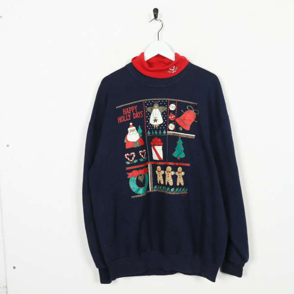 Vintage Basic Happy Holiday Christmas Roll Neck Sweatshirt Jumper Blue Red | XL