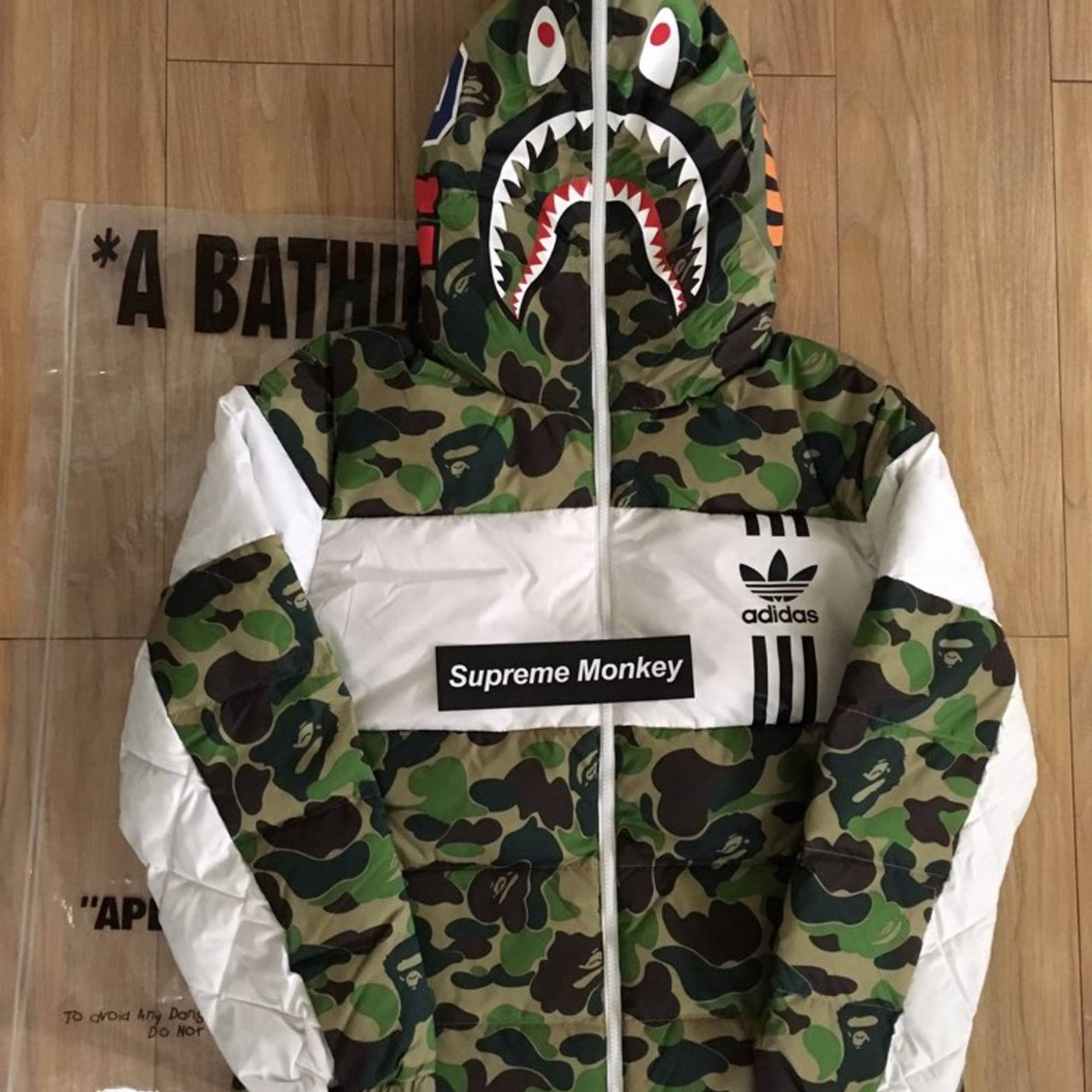 ee98c5073e21 Adidas X Bape Shark Down Jacket Puffer Large