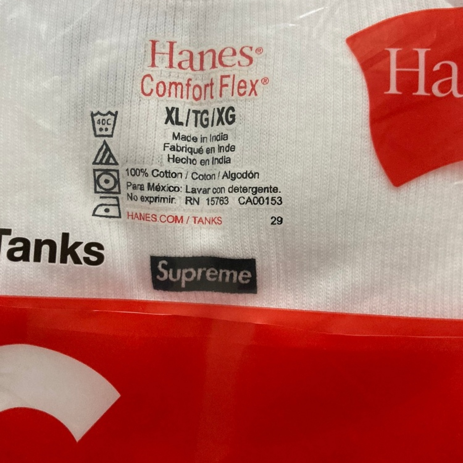 Supreme Hanes Tagless Tank Tops (3 Pack) White