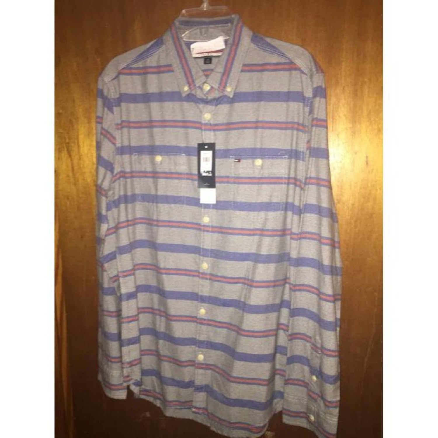 Tommy Hilfiger Plaid Grey Button Up Polo Shirt