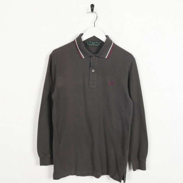 Vintage FRED PERRY Small Logo Long Sleeve Polo Shirt Top Brown | Small S