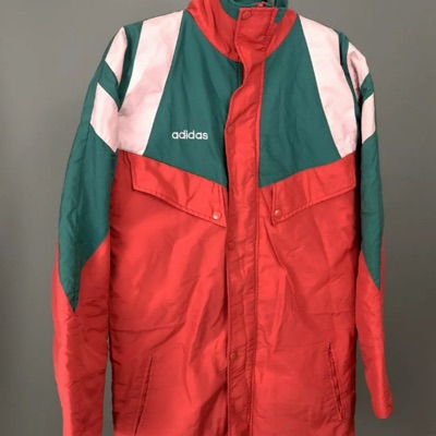 Men's Adidas Retro Hooded Jacket In Red 34/36