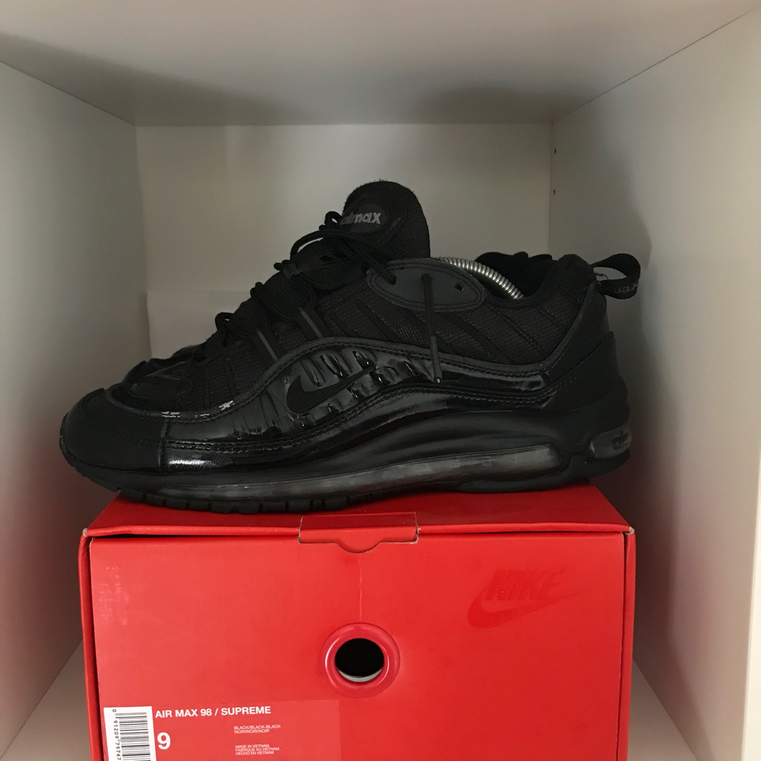 big sale 187fc 27eb7 Supreme X Air Max 98 All Black Us 9