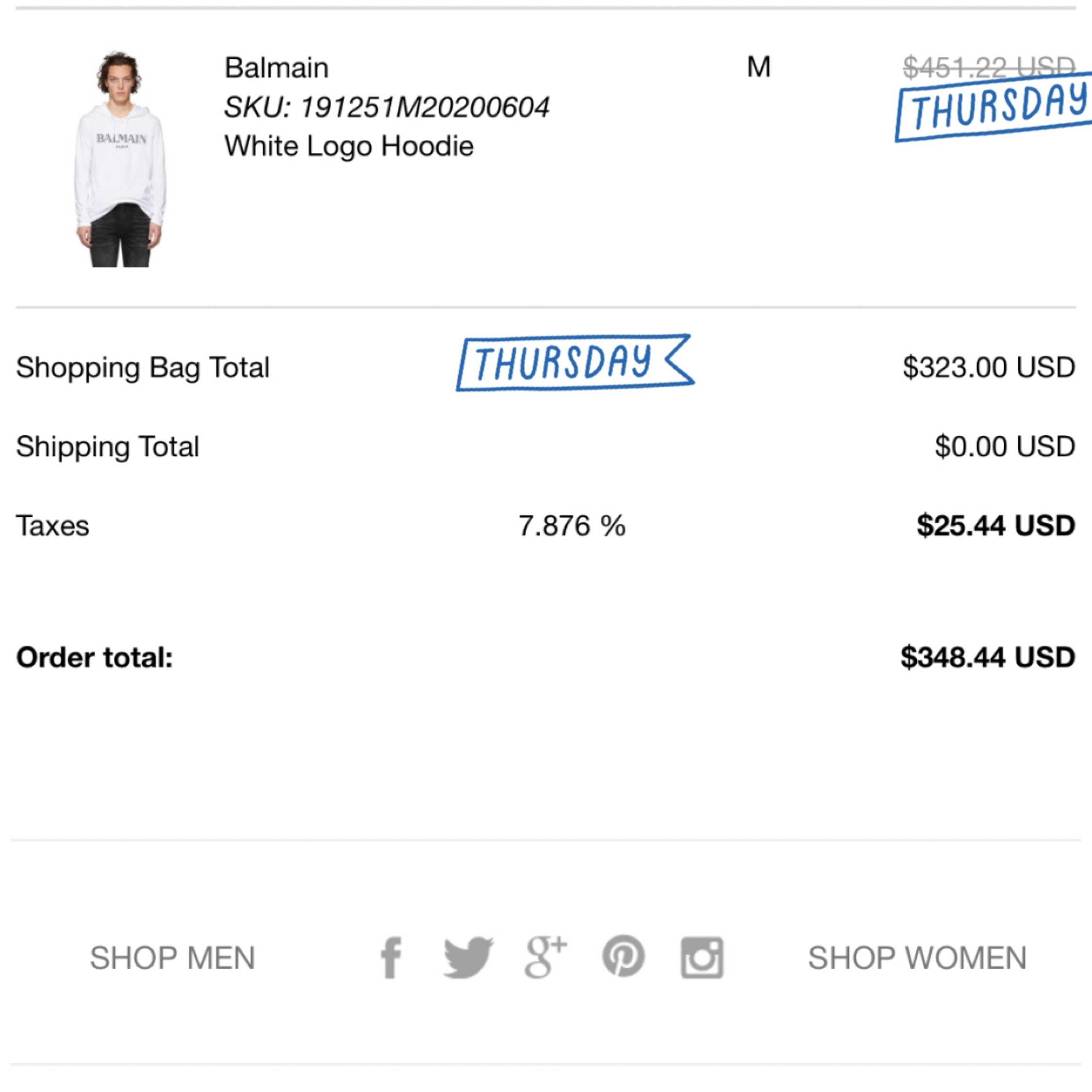 Balmain White Logo Hoodie (Sold Out On Ssense)