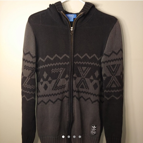 Adidas Woven Knit Zip-Up Hoodie