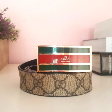 Gucci Belt Authentic Flag Italy Buckle GG Vintage Leather