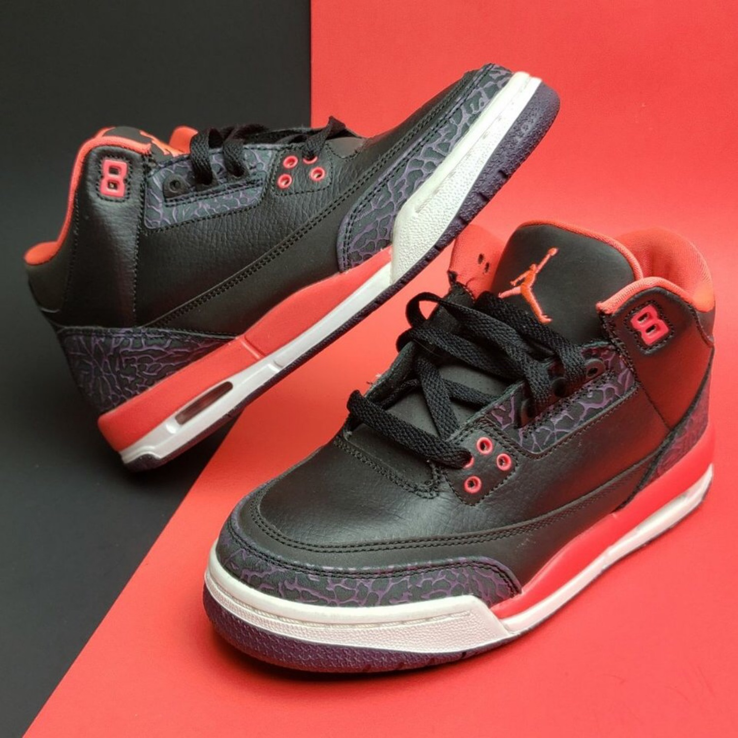 "Air Jordan 3 Retro Gs """"Crimson"""" Sneakers!"