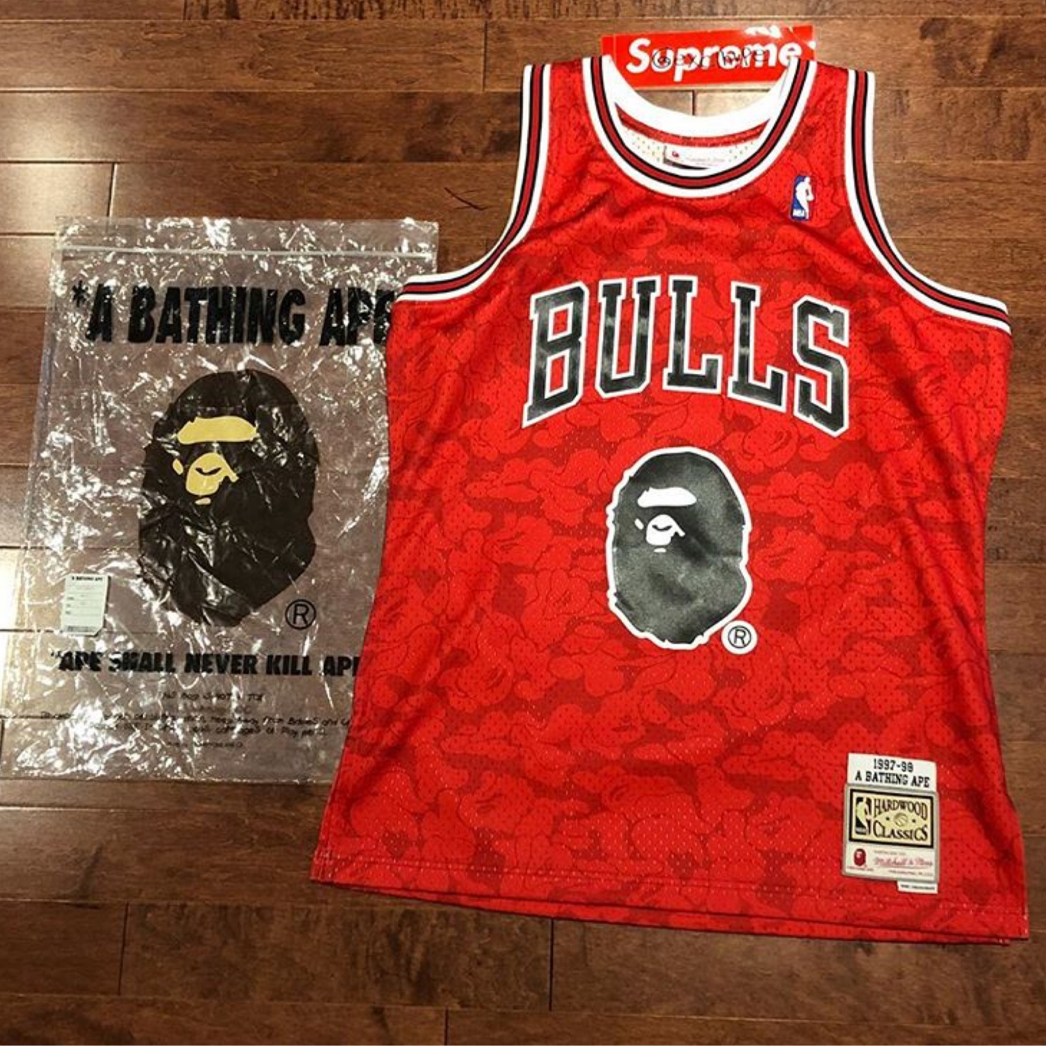 reputable site 968fb 31a92 Bape X Mitchell & Ness Hardwood Classic Jersey