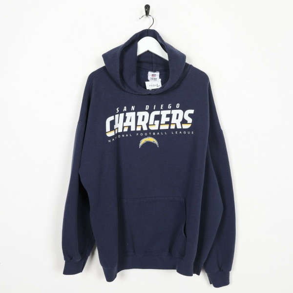 Vintage NFL Team Apparel San Diego Chargers Hoodie Sweatshirt Navy Blue | Large