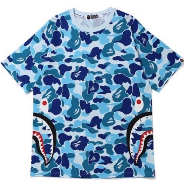 Bape Abc Camo Side Shark Tee Blue
