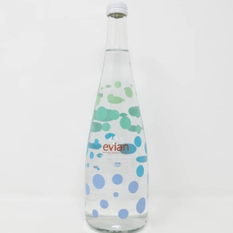 "Evian c/o Virgil Abloh Glass Water Bottle ""One Drop Can Make A Rainbow"" 9 Available"