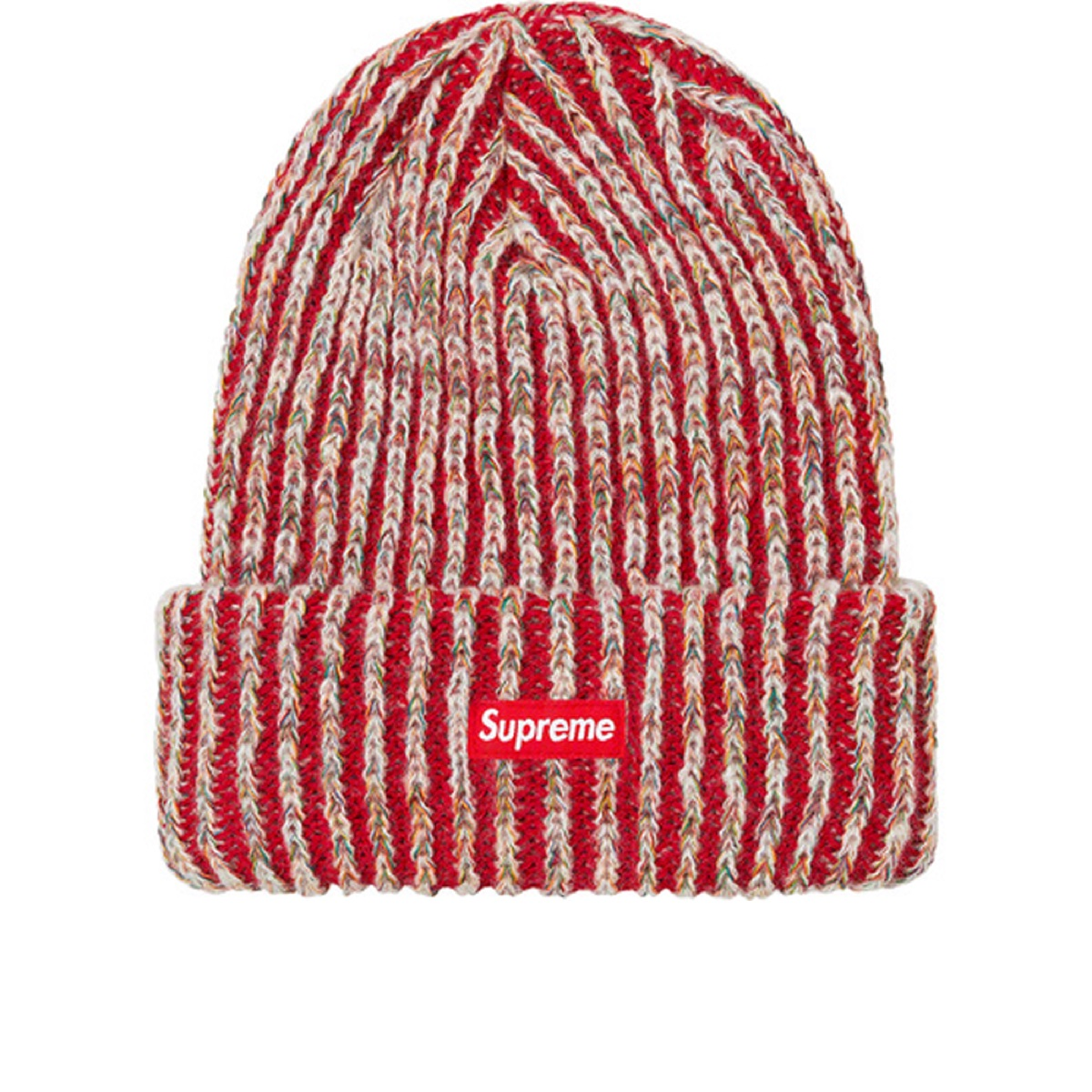 Supreme Rainbow Knit Loose Gauge Beanie Red