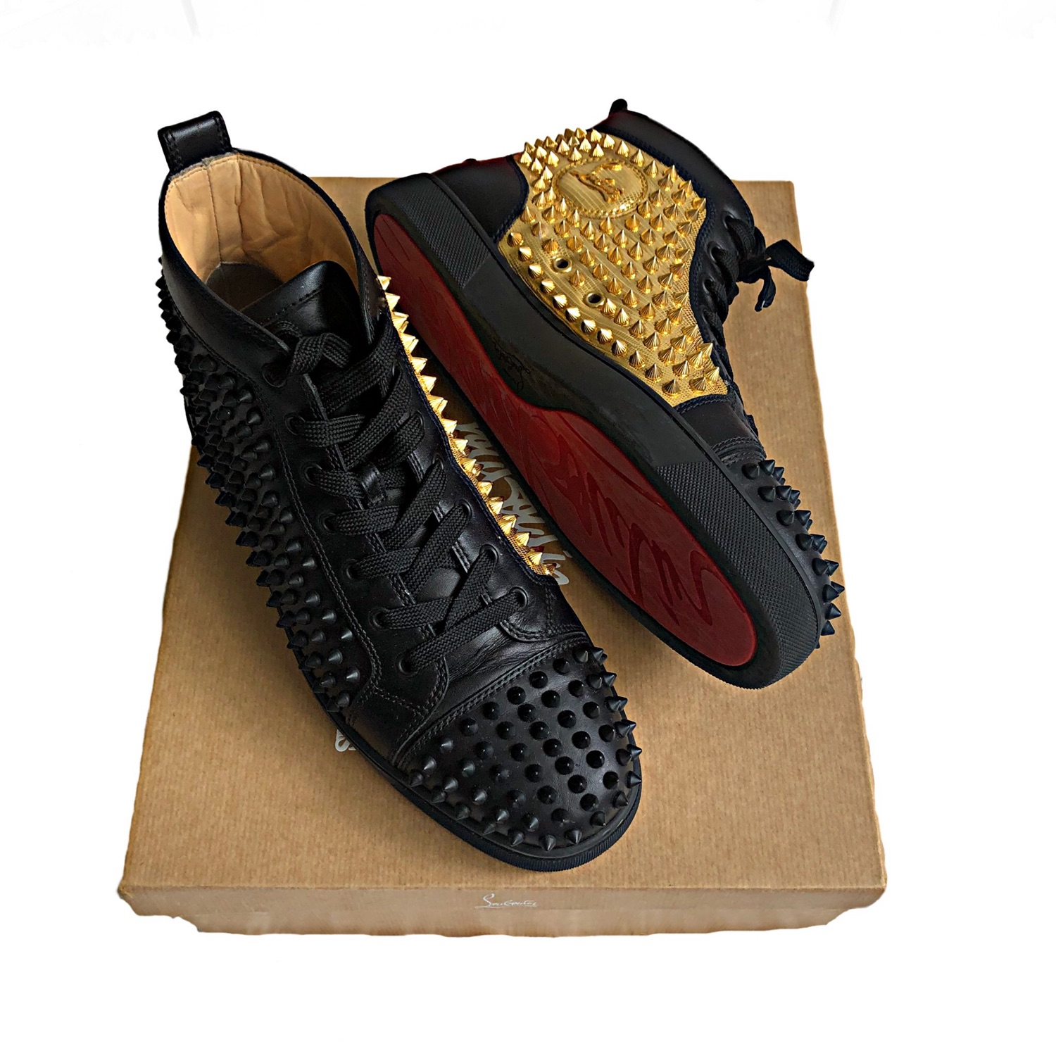 Christian Louboutin Black And Gold High