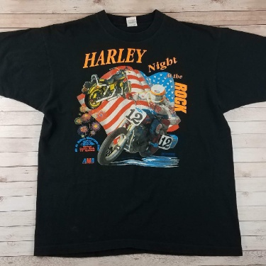 Vintage 1990s Budweiser Harley Night At The Rock Double Sided Black Single Stitch Race Tee Shirt