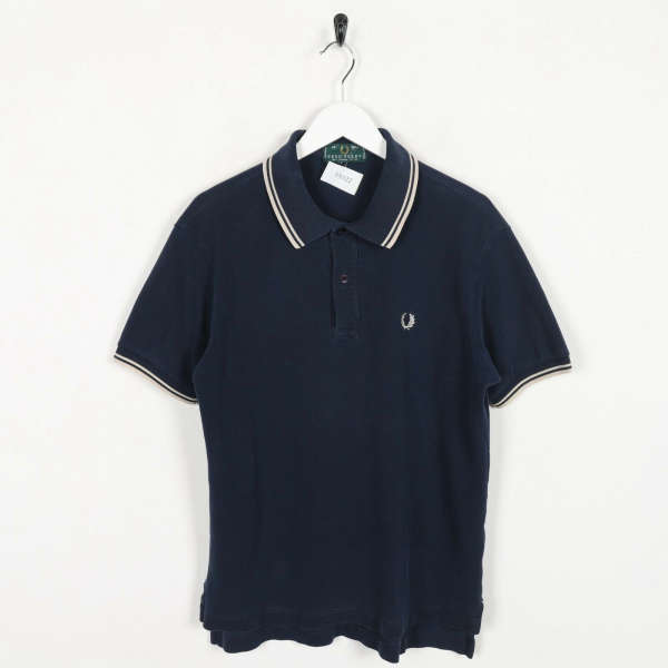Vintage FRED PERRY Small Logo Polo Shirt Top Navy Blue | Medium M