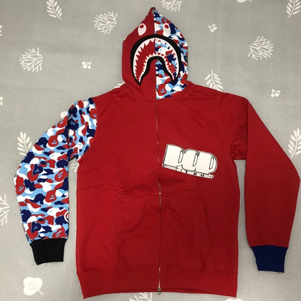 Bape Camo Paris Flag Red Shark Hoodie