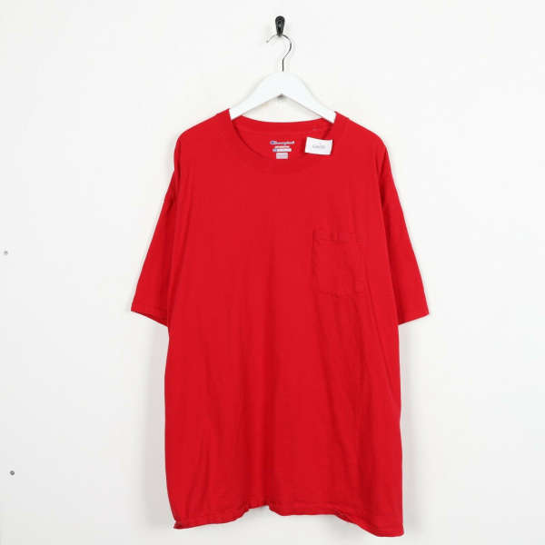 Vintage CHAMPION Sleeve Pocket Logo T Shirt Tee Red | 2XL