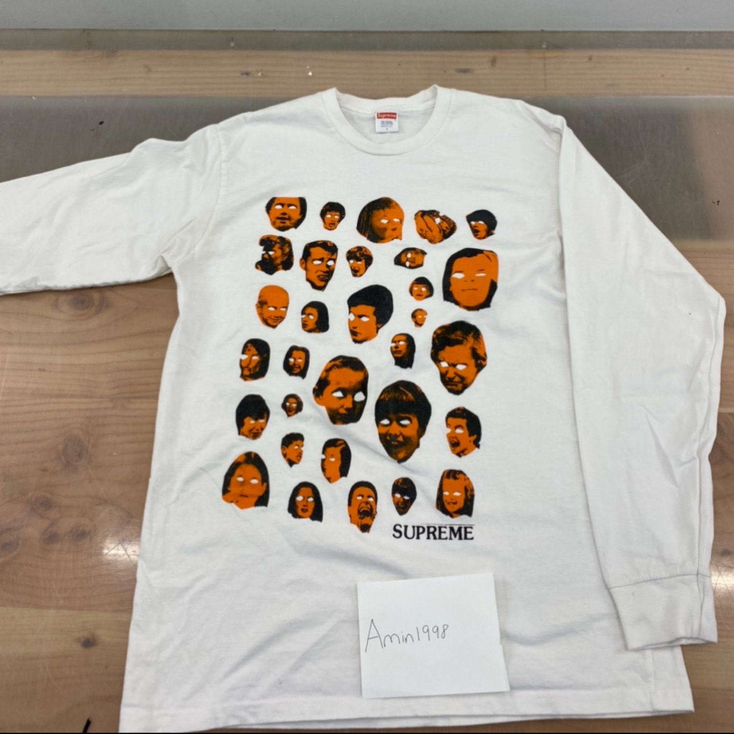 Supreme Faces L/S Tee White