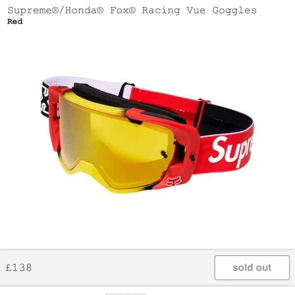 Supreme X Fox X Honda  Racing Vue Goggles