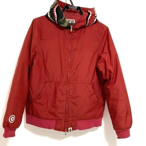 Jackets Red Camouflage Shark Print Hood