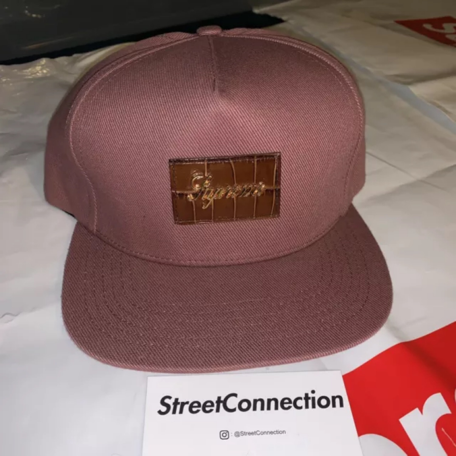 Supreme Crocodile Script 5 Panel Cap