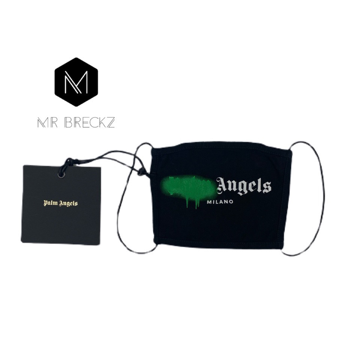Authentic palm angels green spray paint face mask