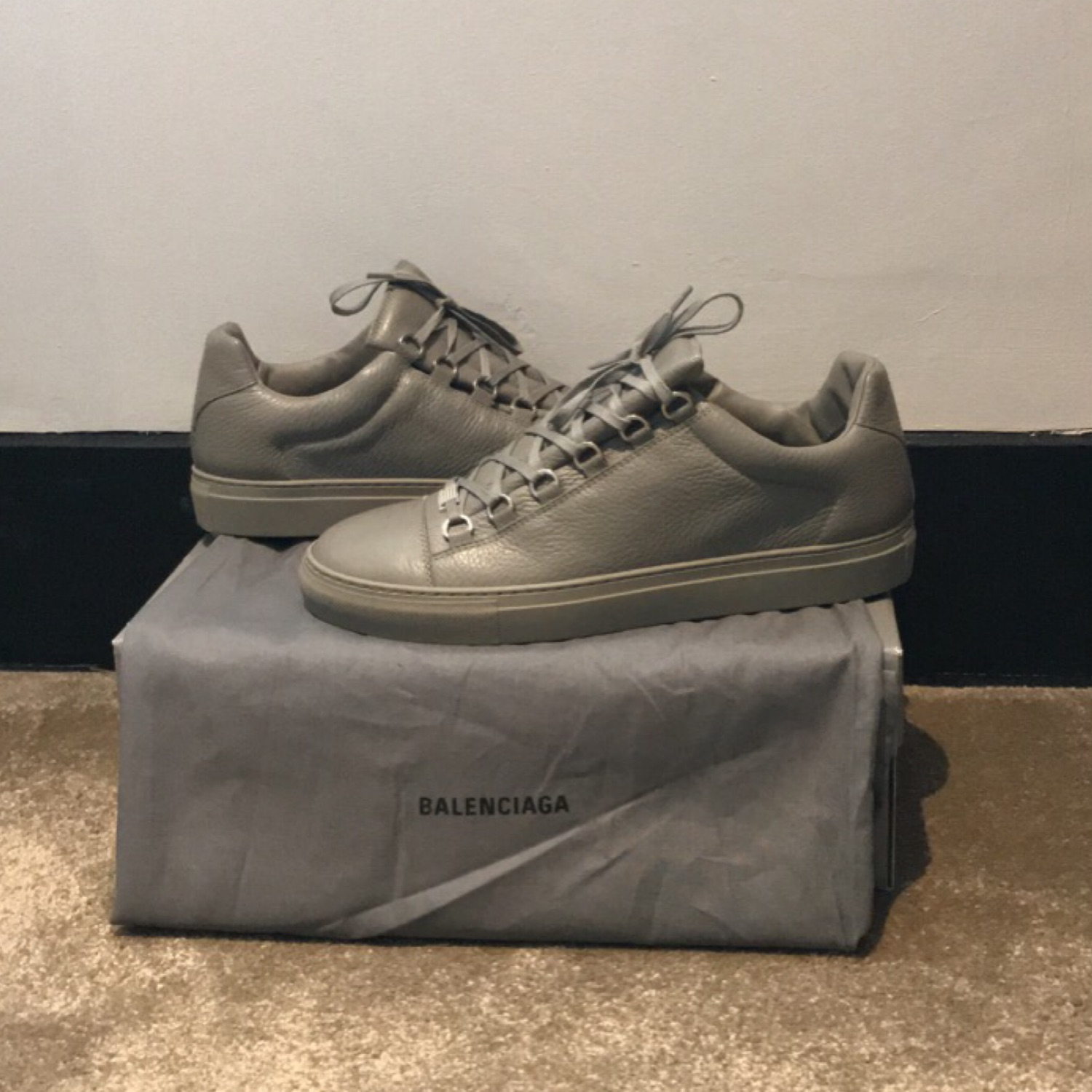 Balenciaga Arena Low Grey Crinkled Leather