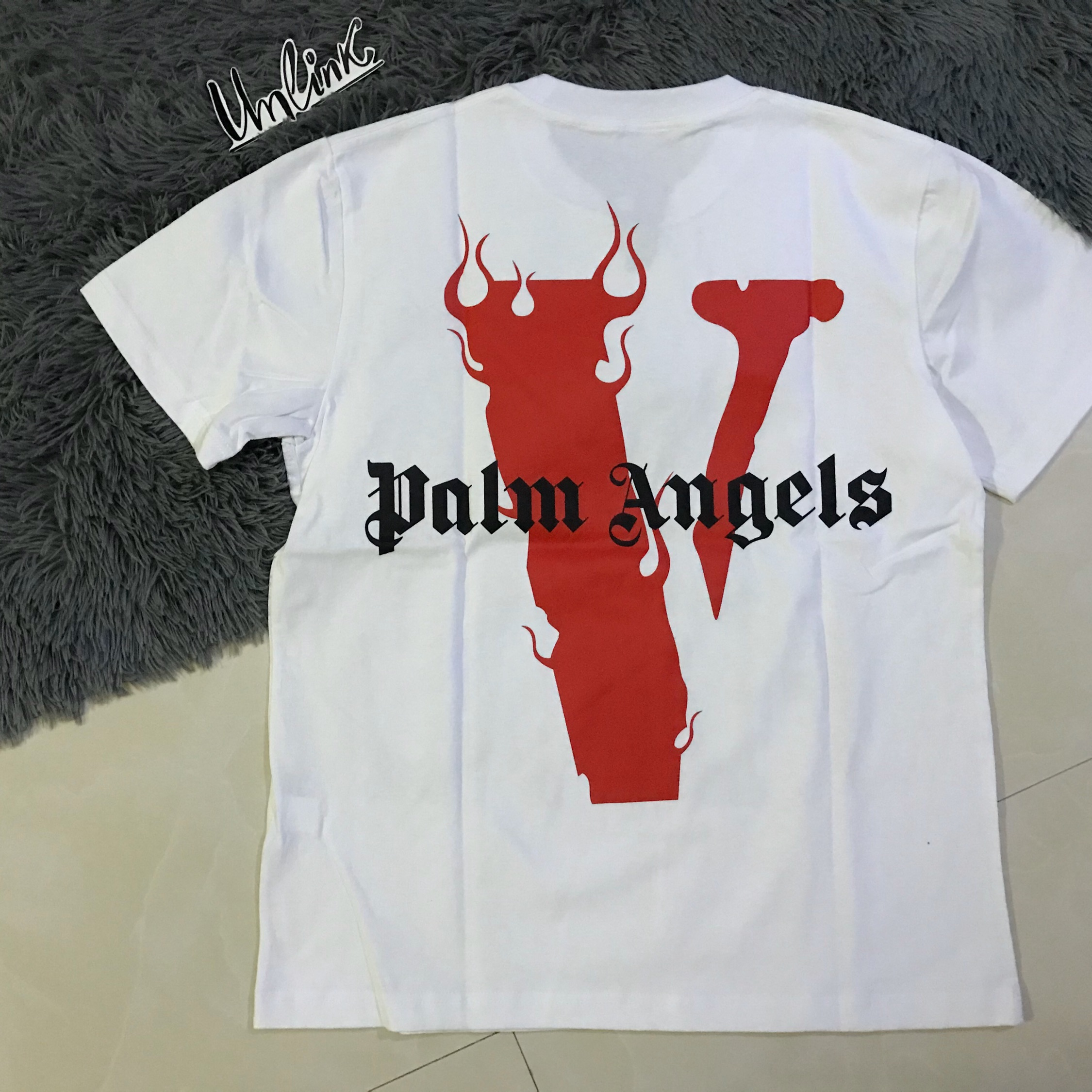 Vlone X Palm Angels White Red Tee