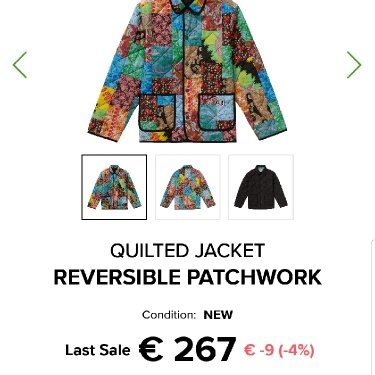 Supreme Quilted Jacket Reversible Patchwork Size L