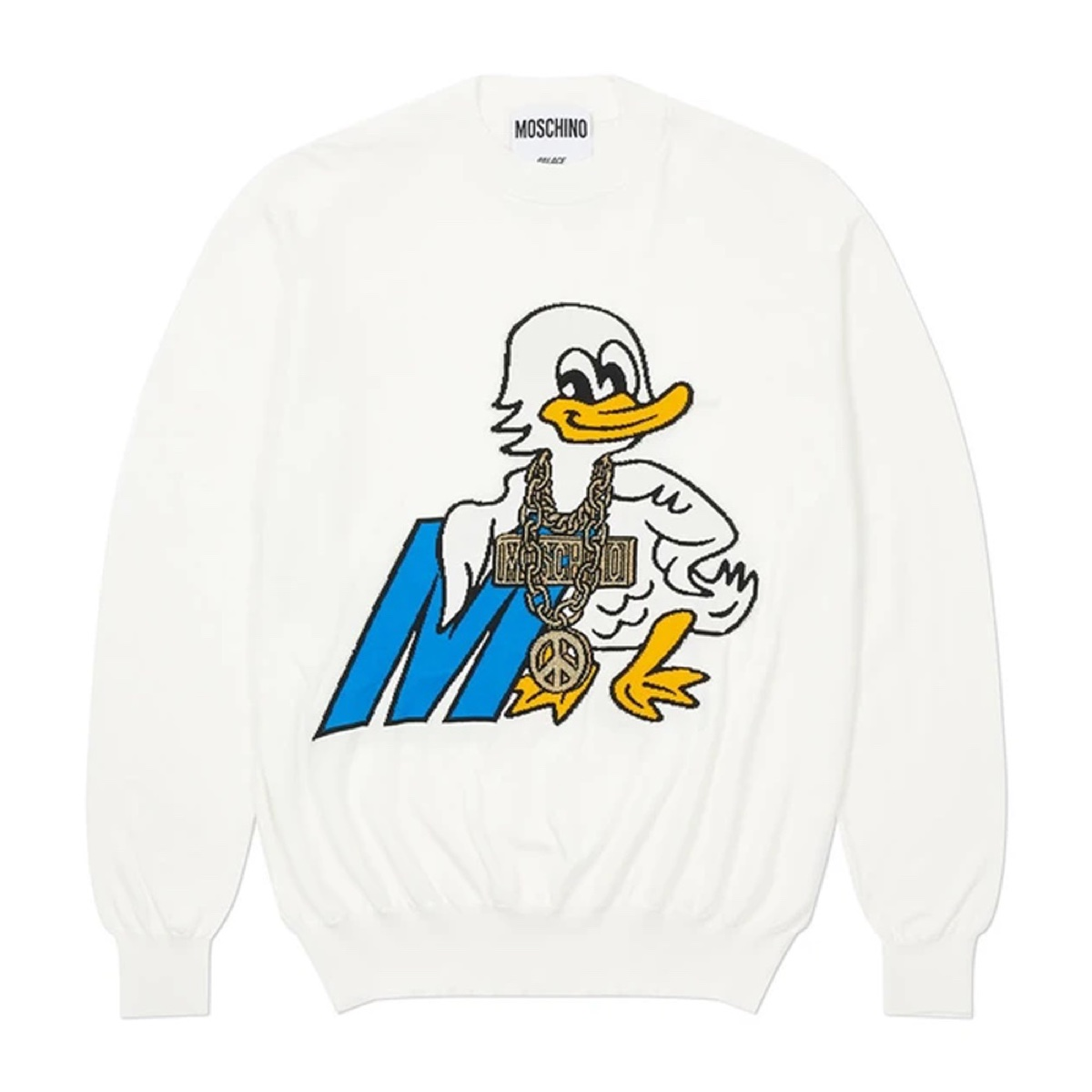 Palace Moschino Knitted Jumper White