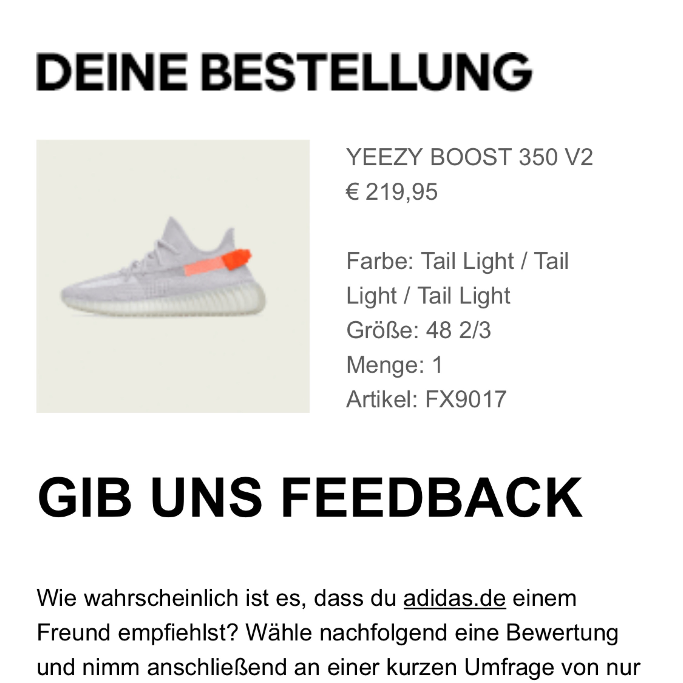 Adidas Yeezy Boost 350 V2 Tail light Infant