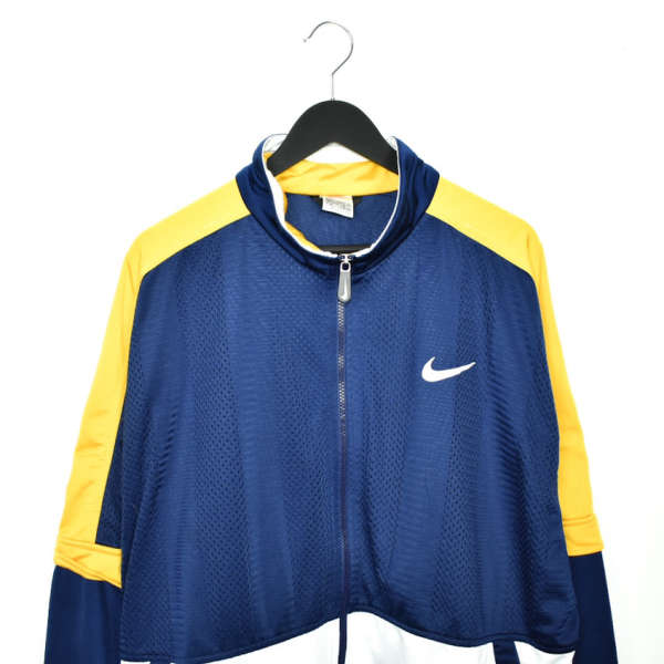 Vintage Nike jacket track windbreaker coat pullover bomber jacket trench coat in blue, white and yellow