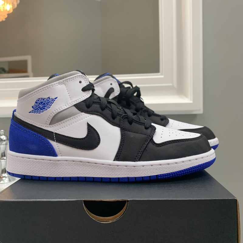 Jordan 1 Mid GS White/Hyper Royal