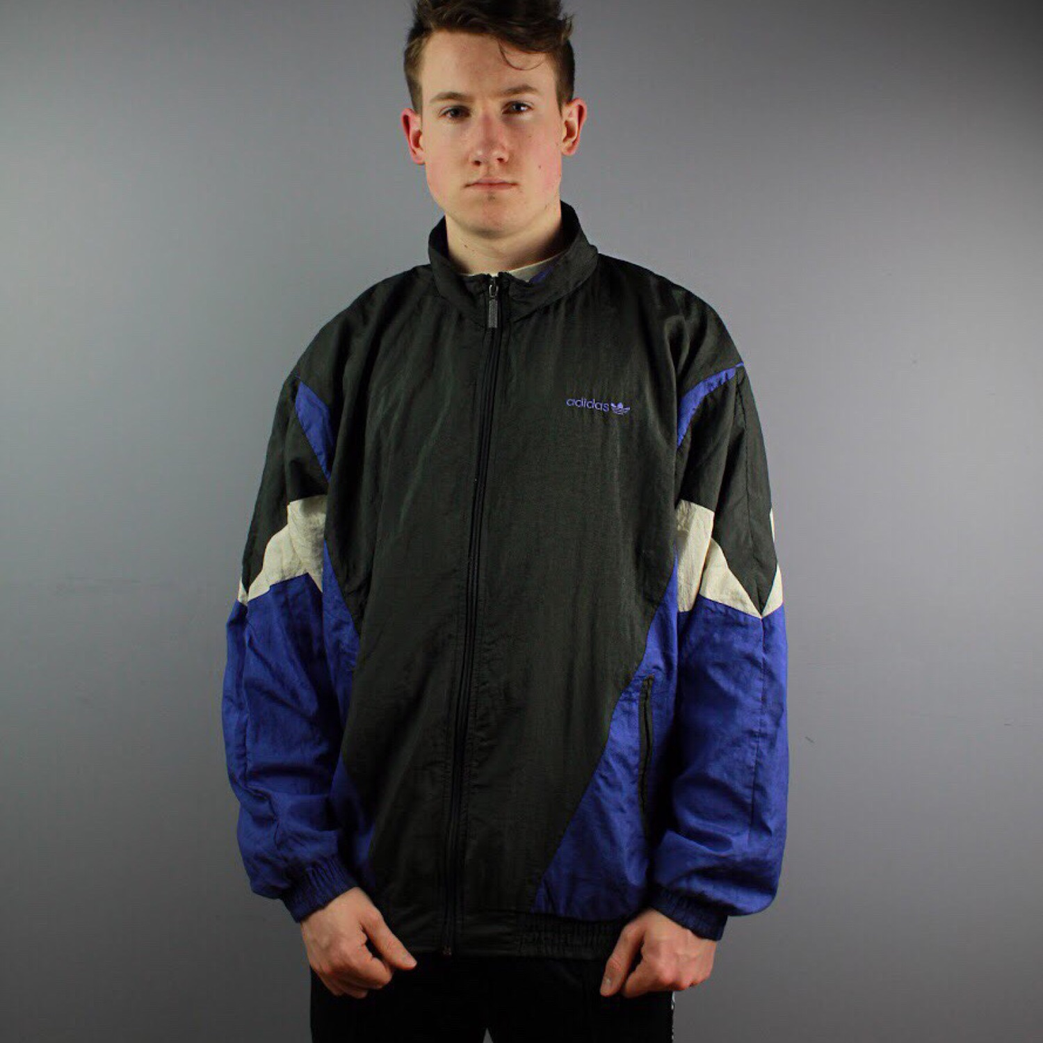 Vintage Adidas Nylon Track Jacket In Blue And M