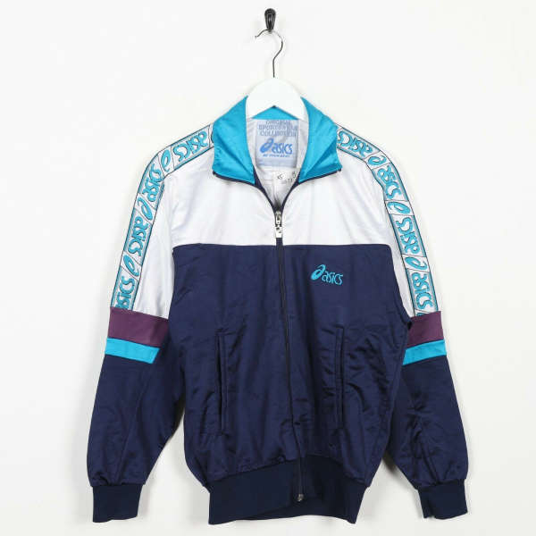 Vintage 90s ASICS Tape Arm Logo Tracksuit Top Jacket White Blue | XS | Grade B