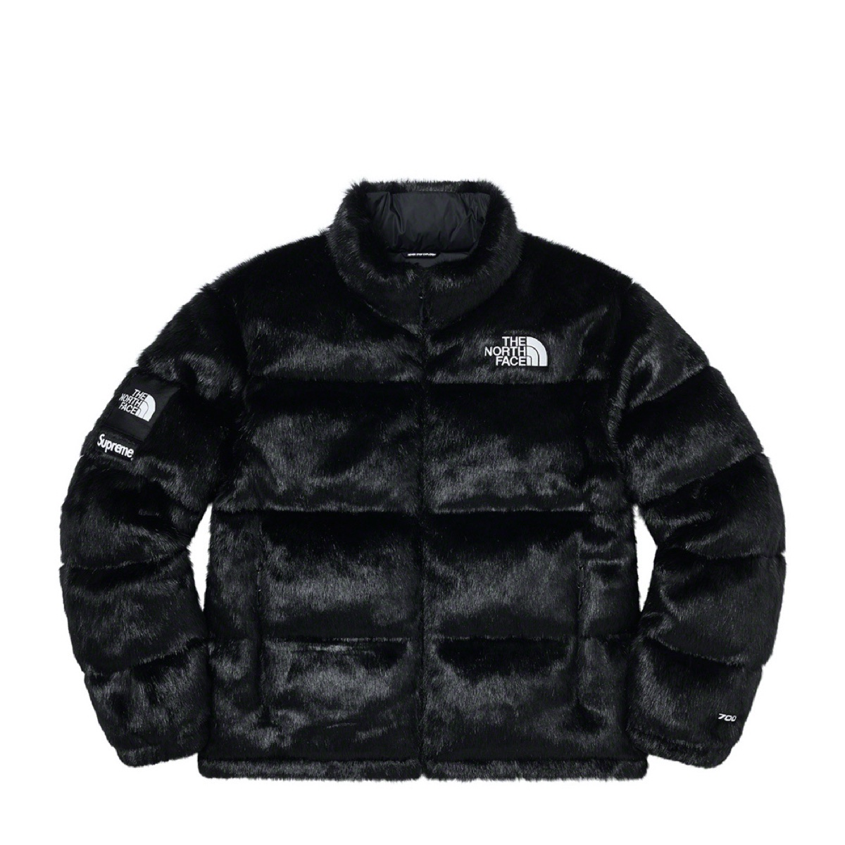 Supreme The North Face Faux Fur Nuptse Jacket Black