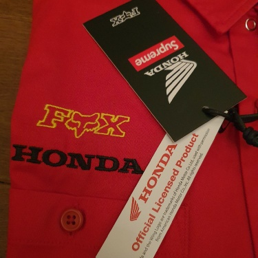 FW19 Supreme x Honda x Fox Racing Work Shirt