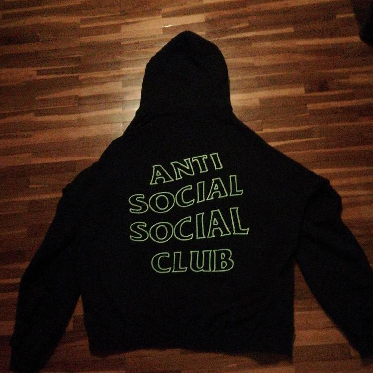 Anti Social Social Club ASSC Green logo Forever and Never Stingy Black hoodie