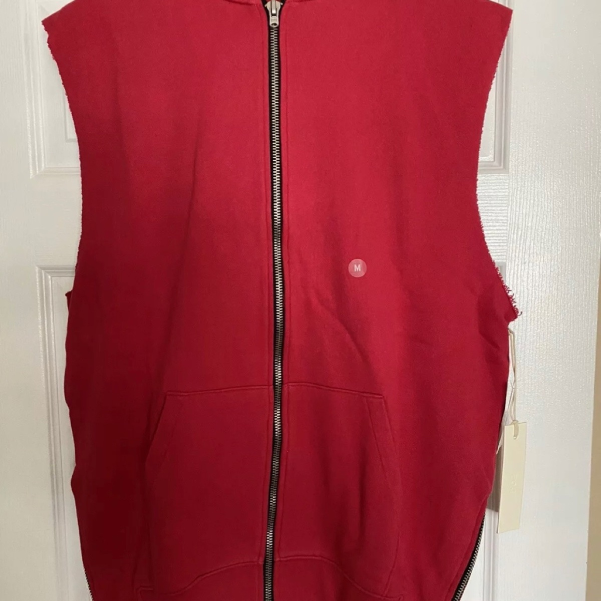 Collection One Fear Of God Red Cut Off Zip Hoodie FOG