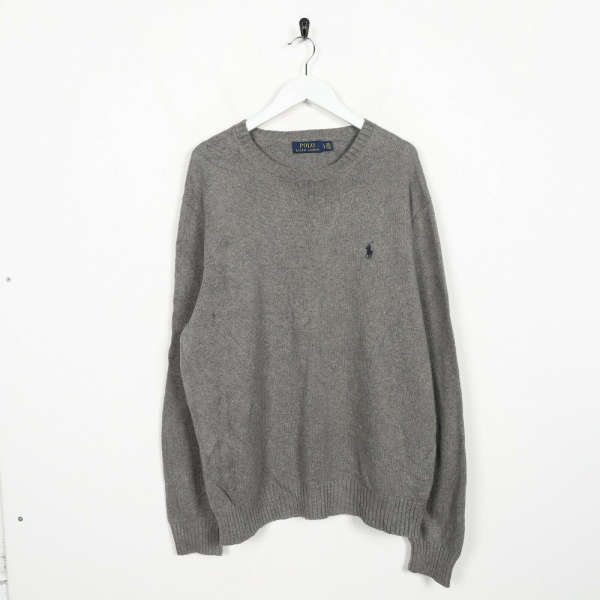Vintage RALPH LAUREN Small Logo Knitted Sweatshirt Jumper Grey | Large L